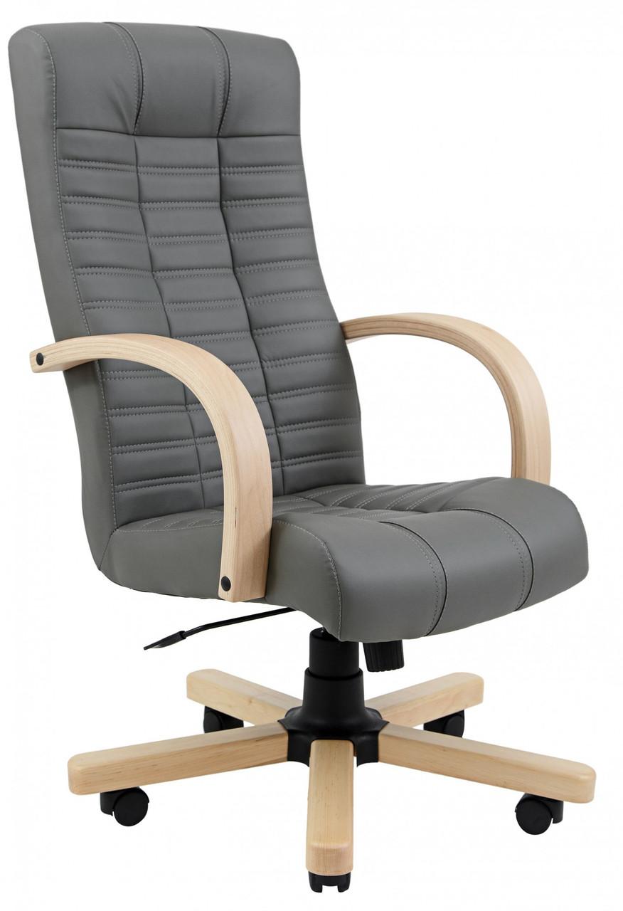 Офисное Кресло Руководителя Atlant Fly 2243 Вуд Бук М2 AnyFix Серое