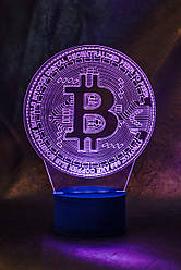 3d-светильник Биткоин, bitcoin, 3д-ночник, несколько подсветок (на батарейке)
