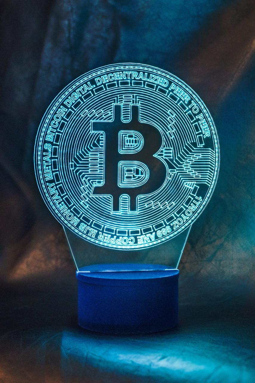 3d-светильник Биткоин, bitcoin, 3д-ночник, несколько подсветок (батарейка+220В)