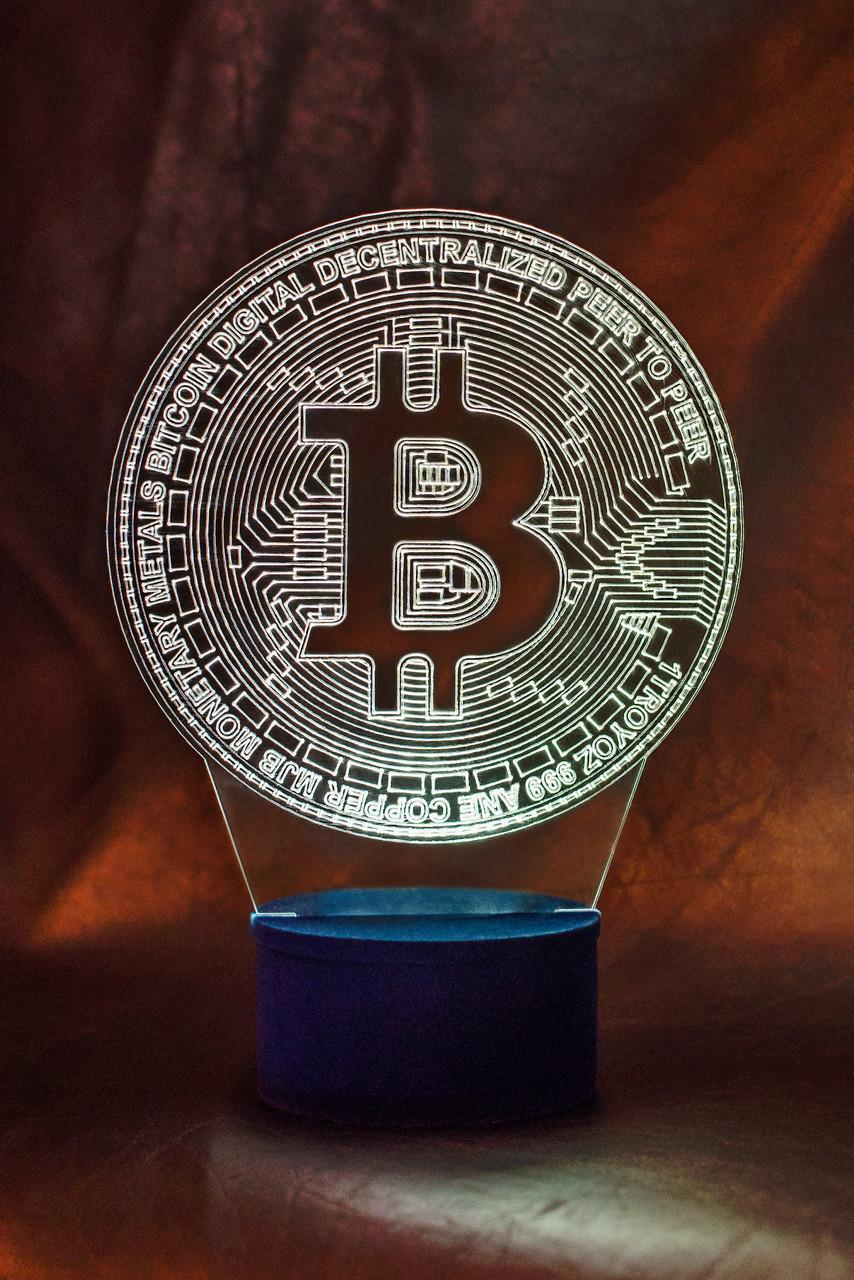 3d-світильник Биткоин, bitcoin, 3д-нічник, кілька підсвічувань (на пульті)