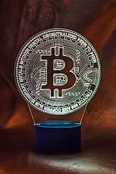 3d-светильник Биткоин bitcoin, 3д-ночник, несколько подсветок (на пульте)
