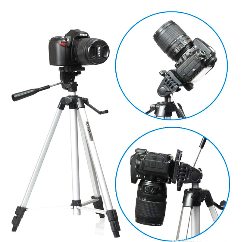 Штатив с телескопической осью 51 - 134 см трипод для телефона GoPro камеры фотоаппарата с чехлом WT-330A серый