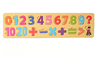 Деревянная игрушка Рамка-вкладыш MD 2216 (Цифры-Мат. знаки)