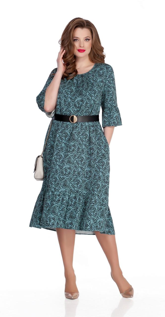 Платье TEZA-758/1 белорусский трикотаж, зеленый-листья, 46
