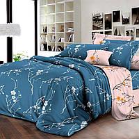 Комплект постельного белья ранфорс Marcel  Сакура 253 розово-синее Двуспальный евро комплект