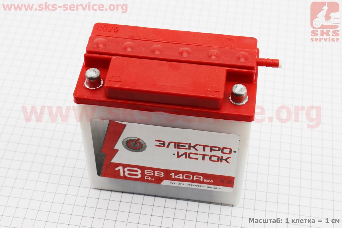 "Аккумулятор 6V 18Аh 3МТС-18 кислотный (L140*W75*H140mm), 2020, круглая клема, МТ, ИЖ ""Электро-исток"""