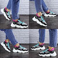 Женские черные кроссовки Carrissa 1757 эко-кожа сетка . Размер 36 - 22,5 см. Обувь женская