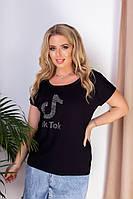 Жіноча класична футболка, круглий виріз горловини, короткий рукав з турецької віскози (50-54), фото 1