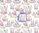 "Отрез ткани ""Лебеди и платья балерин"" на белом фоне (2402а), фото 6"