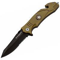 Нож складной Boker Magnum Army Rescue (длина: 208мм, лезвие: 86мм), коричневый
