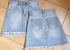 Міні спідниця джинсова блакитна з кишенями