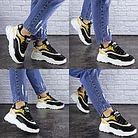 Женские черные кроссовки Ferris 1760 Эко-кожа . Размер 37 - 23 см. Обувь женская