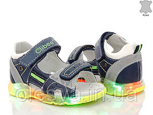 Сандалии, босоножки Кожа для мальчиков ТМ Clibee F265 с LED подсветкой размеры 22  27