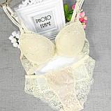 Комплект женского нижнего белья  Lux4ika размер 80A классический с нежным кружевами Кремовый (n-828), фото 2