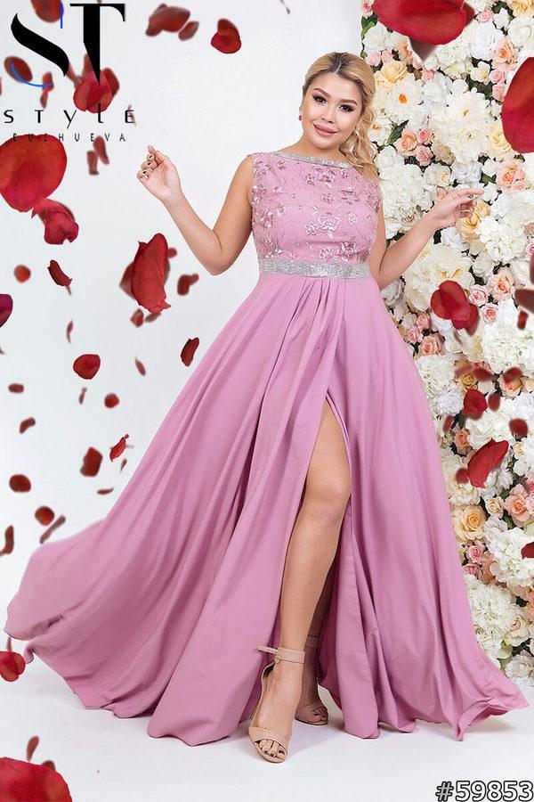 Женское вечернее платье с пышной юбкой и вышитым верхом размеры 48 50 52 54