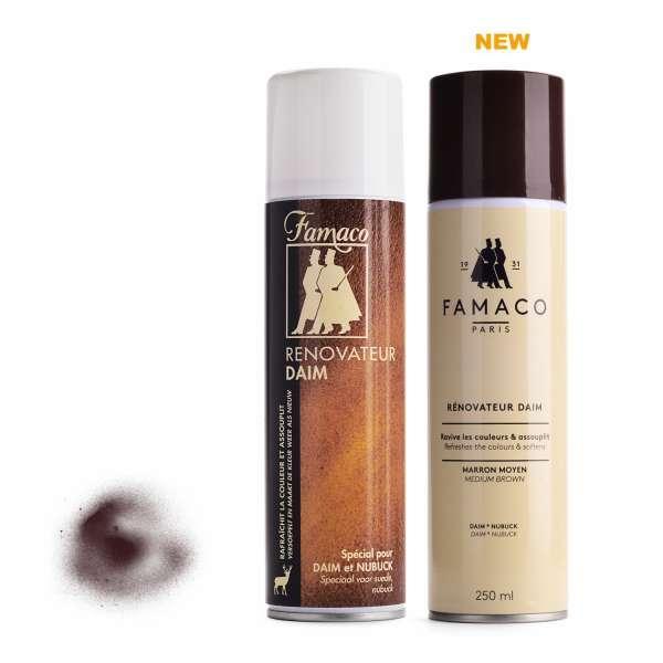 ✅ Темно-коричневый восстановитель цвета для замши и нубука Famaco Renovateur Daim, 250 мл
