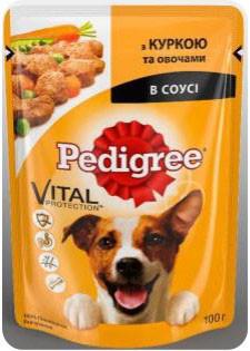 Влажный консервированный корм пауч с Курицей и Овощями в соусе для собак 100 г Pedigree Педигри
