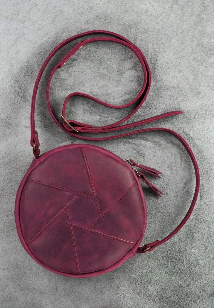 Круглая женская сумка-клатч кожаная марсала Crazy Horse (ручная работа)