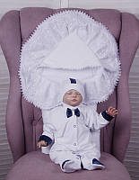"""Комплект для хлопчика на виписку """"Волшебство + Корсар"""" білий + синій"""