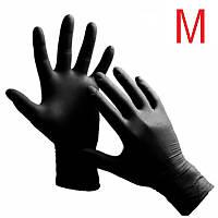Перчатки нитриловые неопудренные чёрные, размер М, (1 пара) medaSEPT 4 г/м2