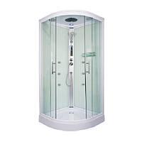 Гидробокс Fabio с электроникой, 90 х 90 см, профиль сатин, стекло фабрик, заднее стекло белое