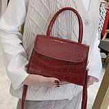 """Женская классическая сумочка на ремешке """"Крокодил""""  XS9203/17 красная, фото 2"""