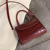 """Женская классическая сумочка на ремешке """"Крокодил""""  XS9203/17 красная, фото 3"""