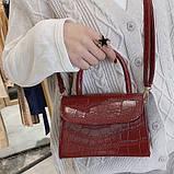 """Женская классическая сумочка на ремешке """"Крокодил""""  XS9203/17 красная, фото 4"""
