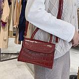 """Женская классическая сумочка на ремешке """"Крокодил""""  XS9203/17 красная, фото 5"""
