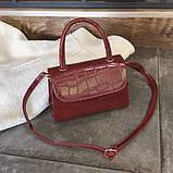"""Женская классическая сумочка на ремешке """"Крокодил""""  XS9203/17 красная, фото 6"""