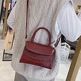 """Женская классическая сумочка на ремешке """"Крокодил""""  XS9203/17 красная, фото 7"""