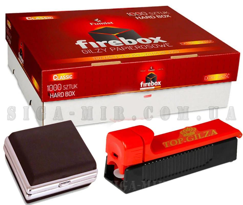 Набор FireBox сигаретные гильзы 1000 штук + фирменная машинка для сигарет + портсигар
