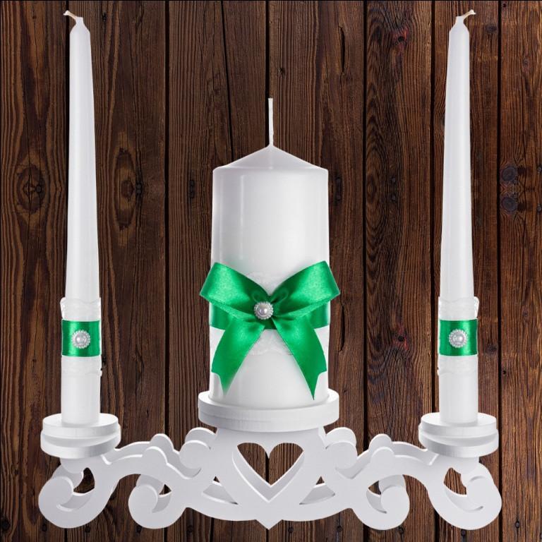 """Набор садебных свечей """"Семейный очаг"""" зеленый цвет, арт. CAND-10"""
