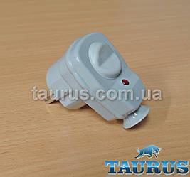 Вилка з кнопкою сіра Gray + заземлення для потужних електроприладів до 3500W (16А), з індикатором. Польща
