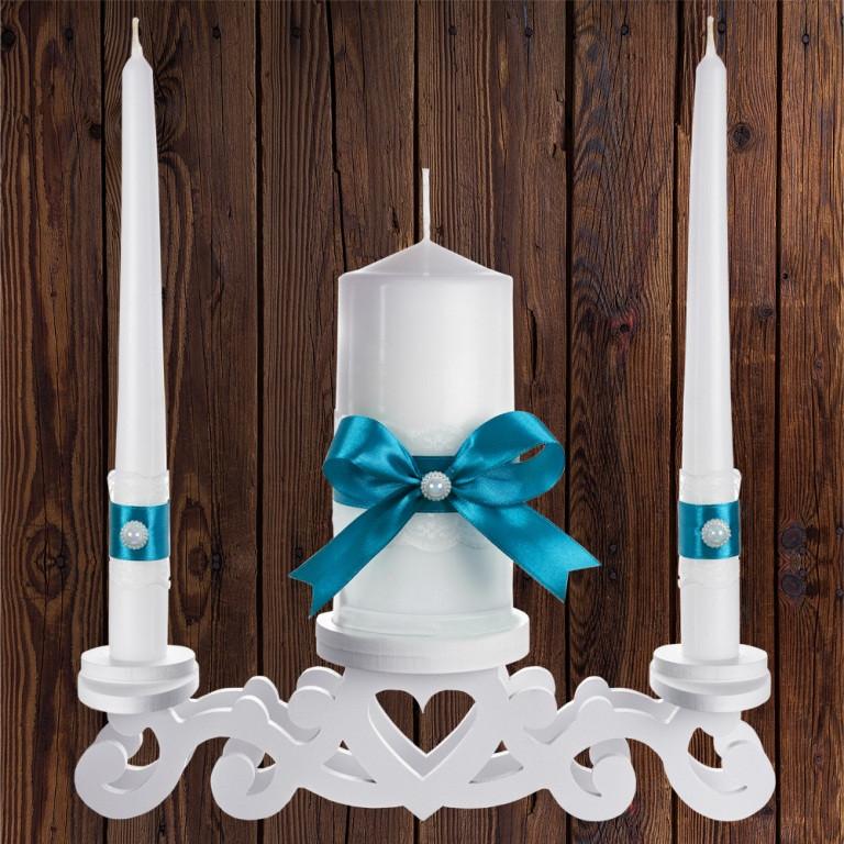 """Набор садебных свечей """"Семейный очаг"""" бирюзовый цвет, арт. CAND-13"""