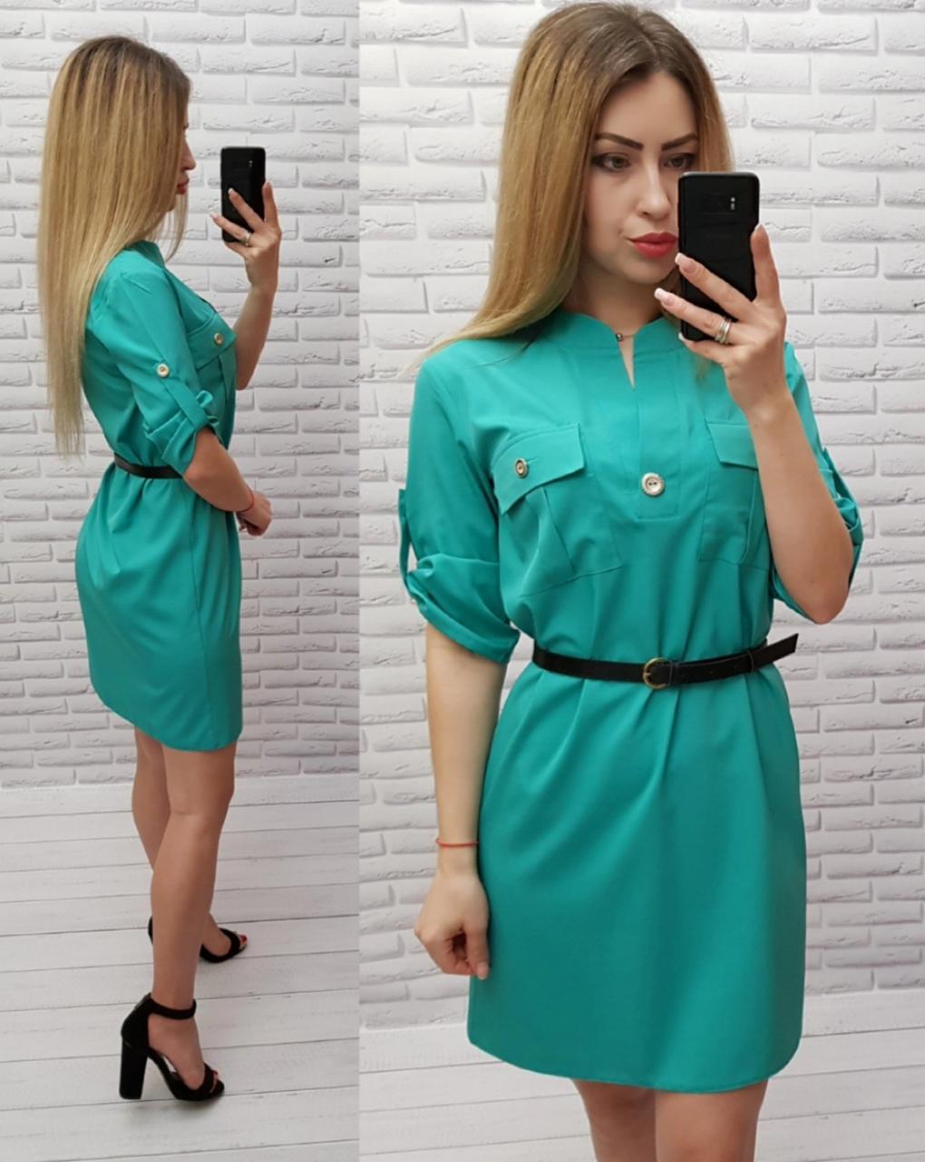 Платье с поясом арт. 198 мятное / мята / бирюзовое
