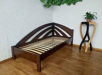 """Односпальная угловая кровать из массива дерева """"Радуга"""" (90х200) лесной орех"""