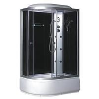 TMS-886/4 R, гидробокс Fabio c панелью управления, 120 х 80 см, рама сатин, стекло серое, заднее стекло чёрное