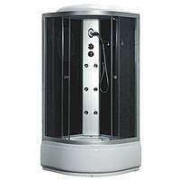 TMS-885/40, Fabio, гідробокс 100 х 100 см, рама сатин, скло сіре, заднє скло чорне