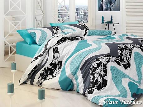 Комплект постельного белья First Choice Ранфорс Wave Turkuaz Полуторный, фото 2