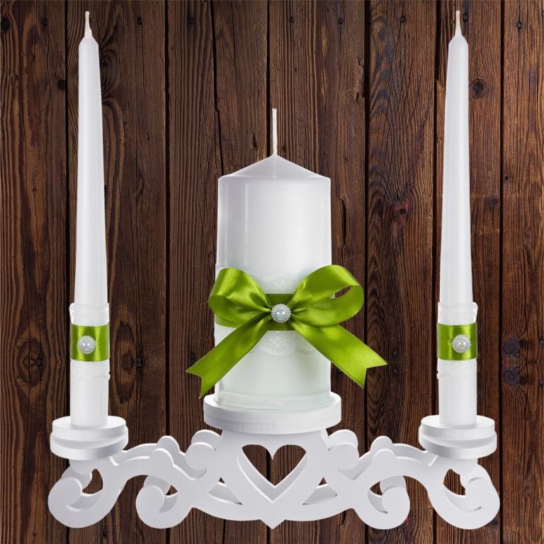 """Набор садебных свечей """"Семейный очаг"""" оливковый цвет, арт. CAND-23"""