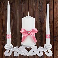 """Набір садебных свічок """"Сімейне вогнище"""" пудровий колір, арт. CAND-25"""
