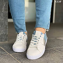 Кроссовки женские бело-голубые эко замша эко кожа кеды 38, фото 3