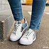 Кроссовки женские бело-голубые эко замша эко кожа кеды 38, фото 4