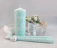 Набор свадебных свечей мятного цвета, арт. АЖ-мята
