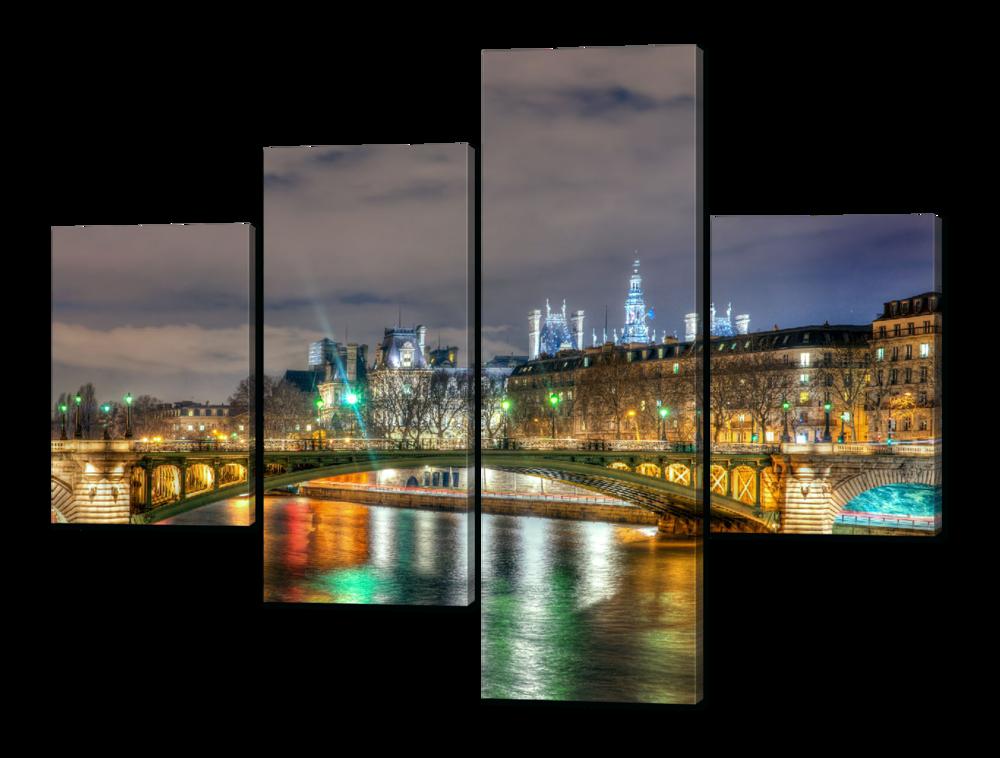 Модульная картина Зелёные огни ночного города 126*94 см Код:W550M
