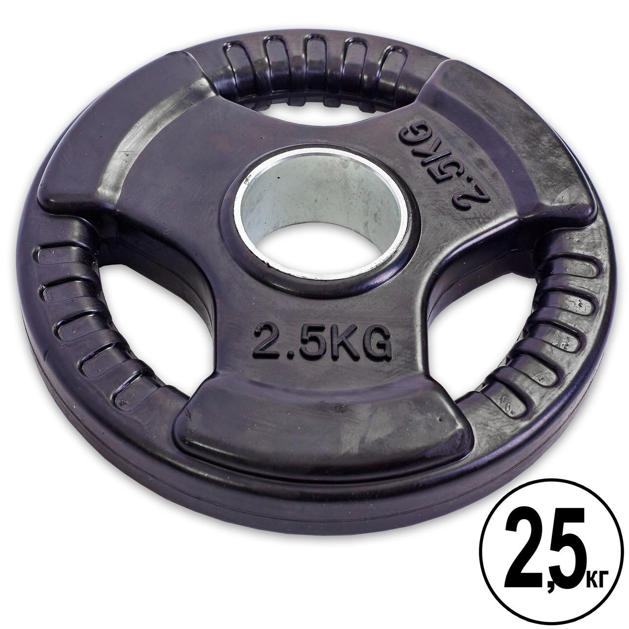 Блины (диски) обрезиненные с тройным хватом и металлической втулкой d-52мм Record TA-5706- 2,5 2,5кг (черный)