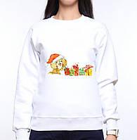 Женский свитшот с принтом Щенок в новогодней шапке с подарками Push IT