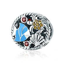 """Шарм """"Морской мир"""" серебро 925 проба, кубический цирконий"""
