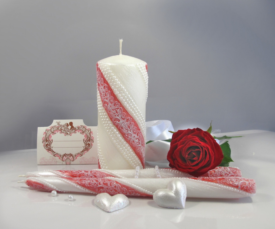 """Набор свечей """"Семейный очаг"""" карминного цвета, арт. НЖКк"""